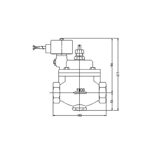 FMバルブ製作所【FM電磁弁 PS-1型 30A DC24/AC24V】手動開閉弁付 通電「開」 取付タイプ(ねじ込み型(Rc)) 本体材質:CAC901