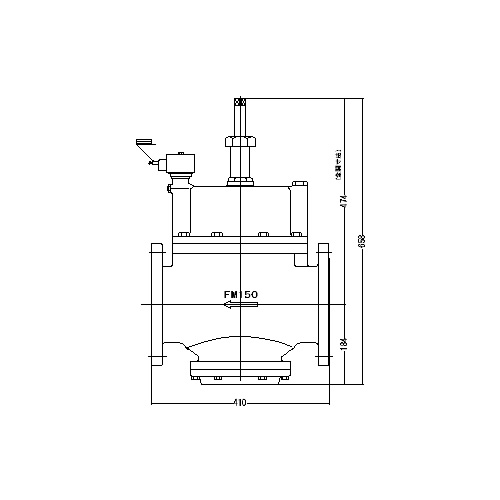 FMバルブ製作所【FMユニットバルブ S-2-2型 150A】(ストレート型) 電磁弁一体型定水位弁 取付タイプ(通電「開」AC100/200V共用 フランジ型) 本体材質:CAC901