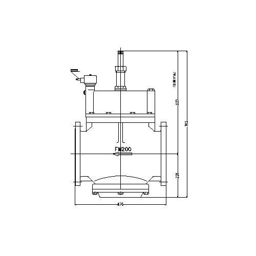 FMバルブ製作所【FMユニットバルブ S-2-2型 200A】(ストレート型) 電磁弁一体型定水位弁 取付タイプ(通電「開」AC100/200V共用 フランジ型) 本体材質:CAC901