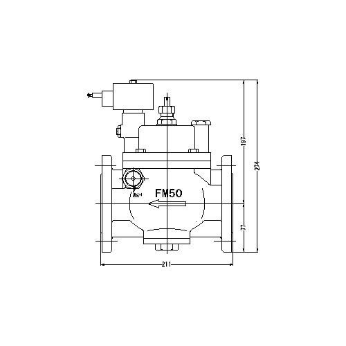 FMバルブ製作所【FMユニットバルブ S-2型 50A】(ストレート型) 電磁弁一体型定水位弁 取付タイプ(通電「開」AC100/200V共用 フランジ型) 本体材質:CAC901
