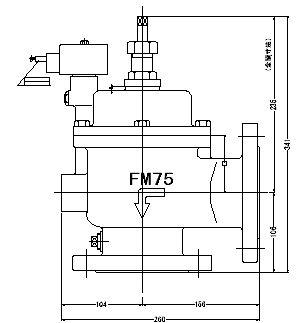 『カード対応OK!』FMバルブ製作所【FMバルブ A-2型 75A】(アングル型) 取付タイプ:通電「開」AC100/200V共用 フランジ型 本体材質:CAC901