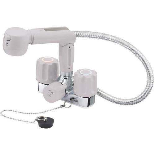 『カード対応OK!』三栄水栓/SANEI 水栓金具【K3104KR-LH-13】寒冷地 ツーバルブスプレー混合栓