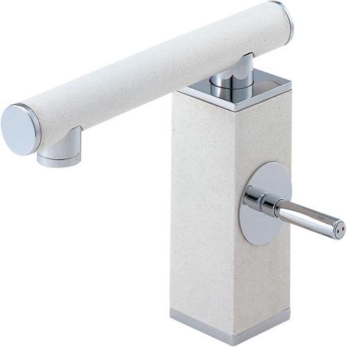 ###≧π三栄水栓/SANEI 水栓金具【K4730JV-JW-13】シングルワンホール洗面混合栓 白磁 受注生産