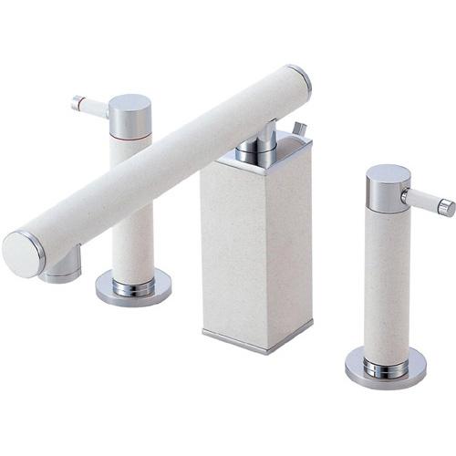 ###≧π三栄水栓/SANEI 水栓金具【K55300PK-JW-13】寒冷地 ツーバルブ洗面混合栓 白磁 受注生産