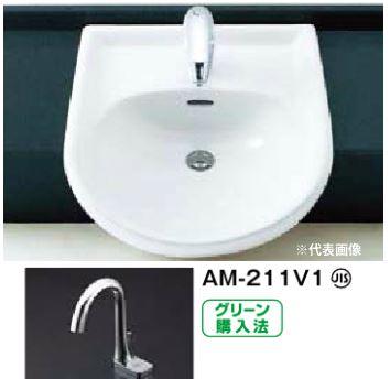 ▽INAX/LIXIL 洗面器セット【L-2160FC】はめ込み前丸形洗面器(オーバーカウンター式) 手動スイッチ付自動水栓 AC100V仕様 AM-211V1 壁給水・壁排水(Pトラップ)