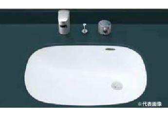 ▽INAX/LIXIL 洗面器セット【L-2297】はめ込みだ円形洗面器(アンダーカウンター式) ホース引出式サーモスタット付洗髪シャワー混合水栓 SF-815T 壁給水・壁排水(Pトラップ)
