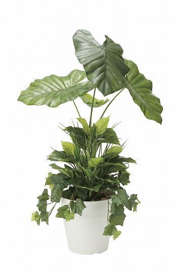 【お買い物マラソンで使えるクーポン配布中!】《アートグリーン》《人工観葉植物》光触媒 光の楽園 タロリ―フ90植栽付