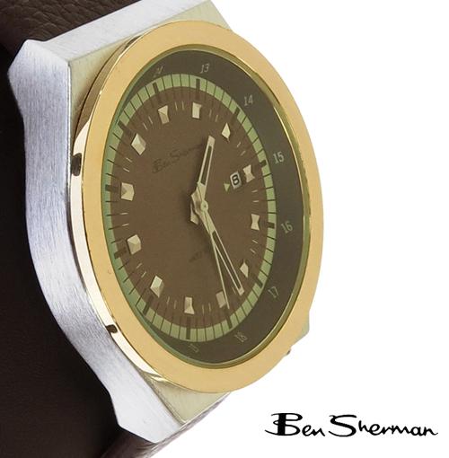 ベンシャーマン Ben Sherman ブラウン ゴールドトリム フェイス 腕時計 メンズ プレゼント ギフト