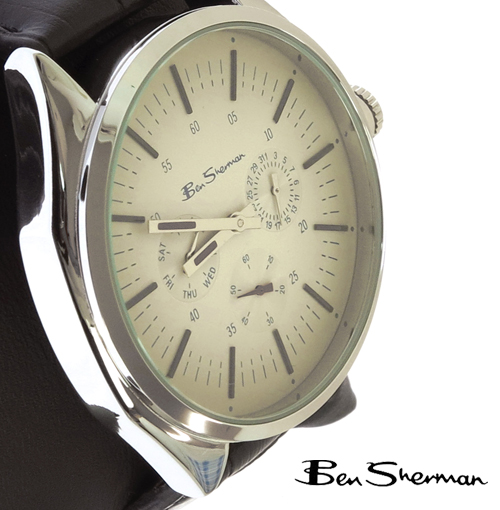 ベンシャーマン Ben Sherman オート ホワイト フェイス クロノグラフ 腕時計 メンズ プレゼント ギフト クリスマス