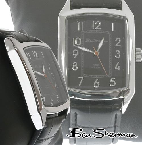 ベンシャーマン Ben Sherman スクエア ブラック フェイス レクタングル 腕時計 メンズ 【送料無料】 モッズ ファッション Square Black Face Leather Belt Watch 本革レザー ベルト 腕 時計 アナログ ウォッチ 縦長 UK モッズ bs027 プレゼント ギフト