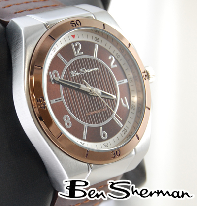 本谢尔曼本谢尔曼棕色的脸观看男子新 mod 时尚青铜皮革皮革腰带棕色真皮皮带手臂手表手表英国国防部 r463 r928