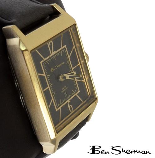 ベンシャーマン Ben Sherman ブラック ゴールド フェイス レクタングル 腕時計 メンズ プレゼント ギフト
