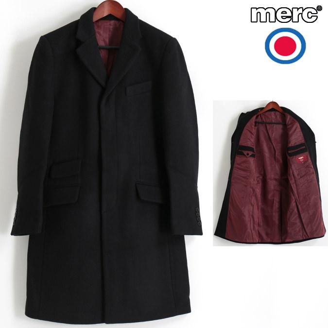 メルクロンドン Merc London オーバーコート ウール テーラード ブラック メンズ モッズファッション プレゼント ギフト