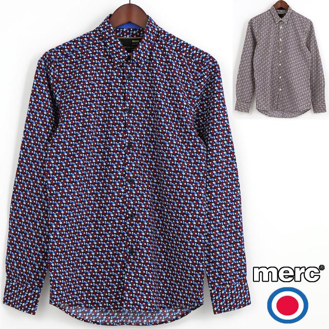 メルクロンドン Merc London 長袖シャツ 花柄シャツ 2色 W1 プレミアム メンズ モッズファッション プレゼント ギフト