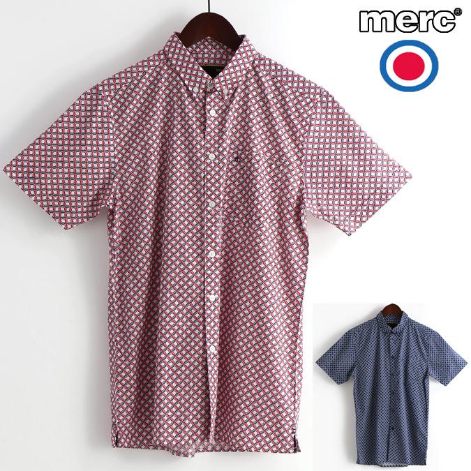 メルクロンドン Merc London 半袖シャツ レトロジオ 2色 W1 プレミアム レッド ブルー メンズ モッズファッション プレゼント ギフト
