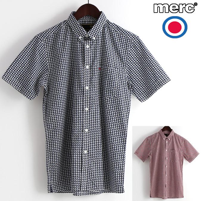 メルクロンドン Merc London 半袖シャツ レトロジオ 2色 W1 プレミアム ブルー レッド メンズ モッズファッション プレゼント ギフト