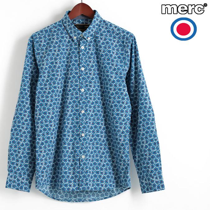 メルクロンドン Merc London 長袖シャツ ジオフローラル ブルー W1 プレミアム ボタンダウン メンズ モッズファッション プレゼント ギフト