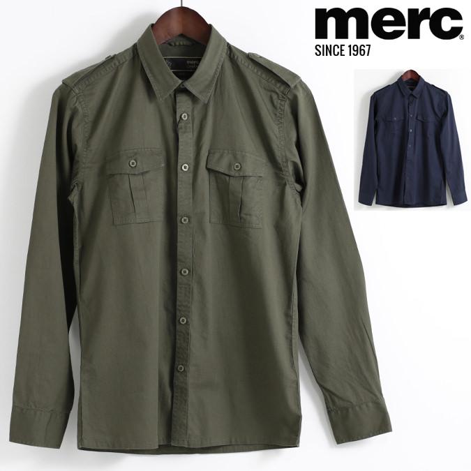 メルクロンドン Merc London 長袖シャツ ミリタリー 2色 カーキ ネイビー W1 プレミアム メンズ モッズファッション プレゼント ギフト