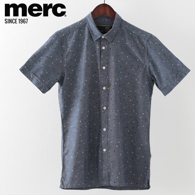 メルクロンドン メンズ 半袖シャツ Merc London ドットプリント W1 プレミアム ブルー モッズファッション プレゼント ギフト