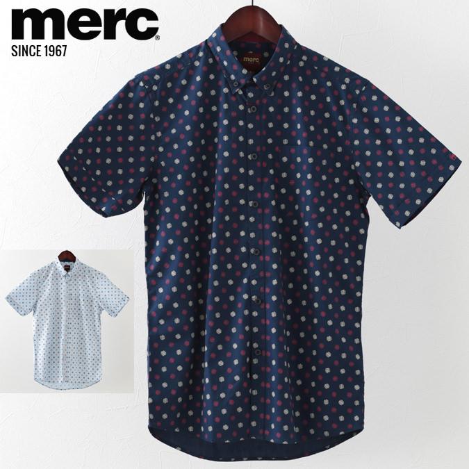 メルクロンドン メンズ 半袖シャツ Merc London ジオプリント 2019 新作 2色 ネイビー クール モッズファッション プレゼント ギフト