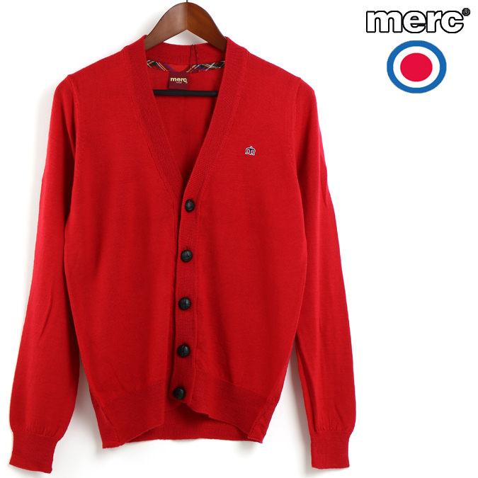 セール メルクロンドン Merc London カーディガン ブレザーレッド メンズ モッズファッション ニット ウール プレゼント ギフト