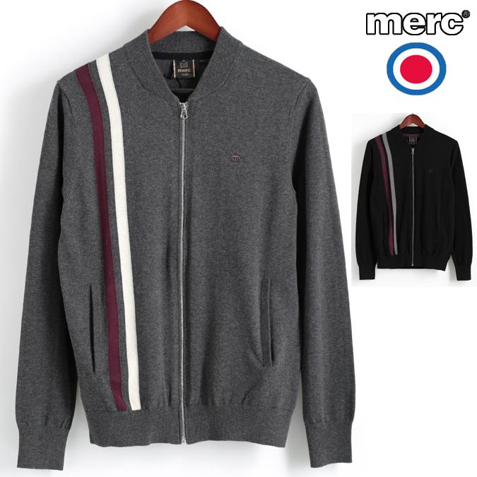 セール メルクロンドン Merc London カーディガン ストライプニット ボンバー 2色 マールチャコール ブラック W1 プレミアム メンズ モッズファッション プレゼント ギフト