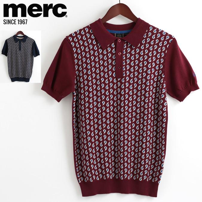 メルクロンドン Merc London ポロシャツ ニット ペイズリー 18SS 新作 2色 バーガンディー ネイビー W1 プレミアム メンズ モッズファッション プレゼント ギフト