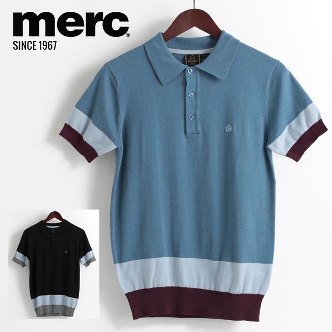メルクロンドン Merc London ポロシャツ ニット カラーブロック スリムフィット 18SS 新作 2色 ブルー ブラック W1 プレミアム メンズ モッズファッション プレゼント ギフト