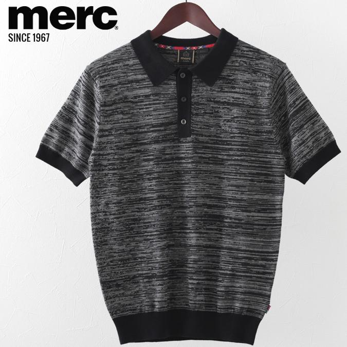 メルクロンドン メンズ ポロシャツ ポロ Merc London ニット スペースダイ W1 プレミアム ブラック モッズファッション プレゼント ギフト