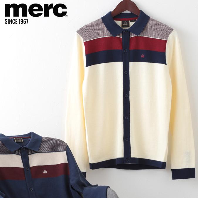 メルクロンドン メンズ カーディガン ブロックパネル Merc London W1 プレミアム 2色 クリーム ダークブルー モッズファッション プレゼント ギフト