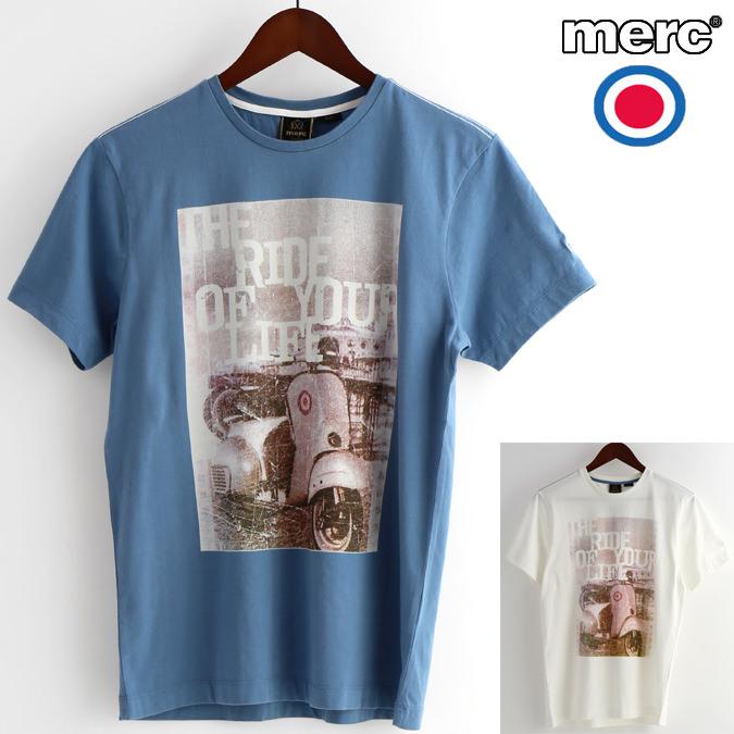 メルクロンドン Merc London Tシャツ ヴィンテージ スクーター ベスパ 春物 W1 プレミアム 2色 ダストブルー オフホワイト メンズ モッズファッション プレゼント ギフト VESPA