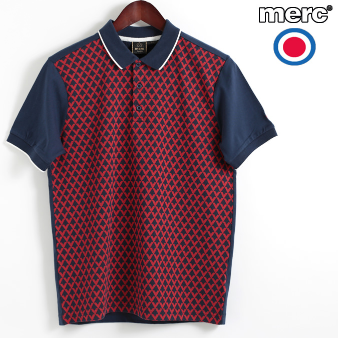 メルクロンドン Merc London ポロシャツ ポロ ダイヤモンド ジャガード ネイビー メンズ W1 プレミアム モッズファッション プレゼント ギフト