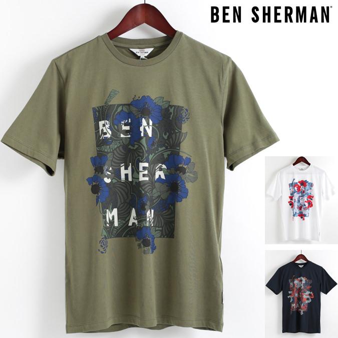 ベンシャーマン Ben Sherman Tシャツ フローラル パネル 3色 メンズ 2018 新作 花柄 フラワー メンズ プレゼント ギフト