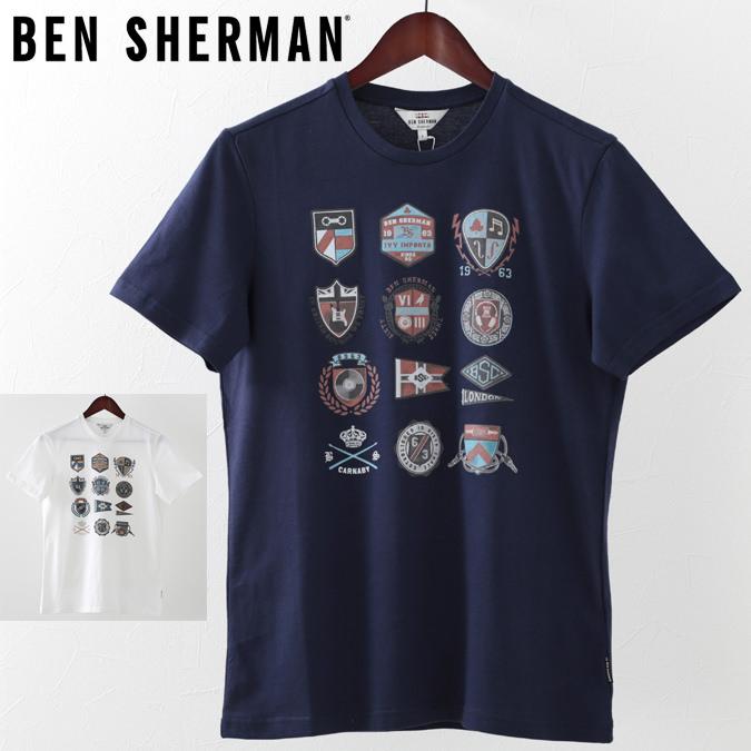 ベンシャーマン メンズ Tシャツ アイビー バッジ Ben Sherman 2色 ホワイト ネイビー プレゼント ギフト