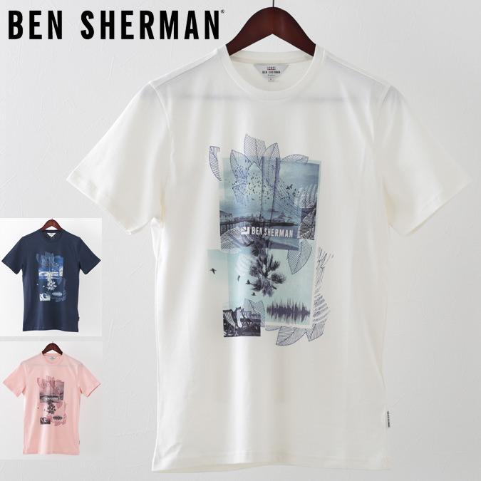 ベンシャーマン メンズ Tシャツ Ben Sherman プロムナード 3色 ホワイト ライトピンク ダークネイビー プレゼント ギフト