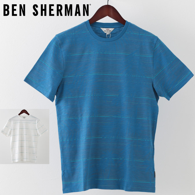 ベンシャーマン メンズ Tシャツ Ben Sherman パーム ストライプ 2色 ホワイト マリン プレゼント ギフト