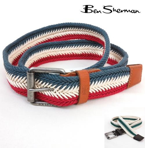 ベンシャーマン Ben Sherman フィッシュテール プレート 編みこみ ベルト メンズ プレゼント ギフト