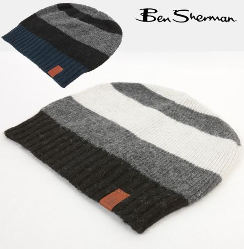 3d82e62c3d0 Ben Sherman Ben Sherman wool stripe Beanie knit hat men s new mod fashion  Wool Stripe Beanie Knit Hat Black Black Navy Navy logo leather trim UK MOD  mj00114