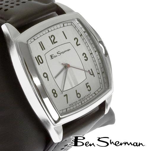 ベンシャーマン Ben Sherman シルバー フェイス 腕時計 メンズ 【送料無料】 モッズ ファッション Silver Face ライン レッド 本革 レザー ベルト Leather 腕 時計 アナログ ウォッチ UK モッズ r925 プレゼント ギフト クリスマス