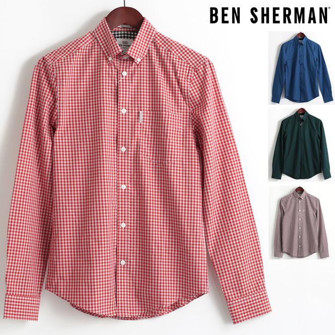 ベンシャーマン Ben Sherman 長袖シャツ ギンガムチェック コア 4色 ブルー レッド グリーン ブラック レギュラーフィット MOD Regular Fit ボタンダウン メンズ プレゼント ギフト モッズファッション
