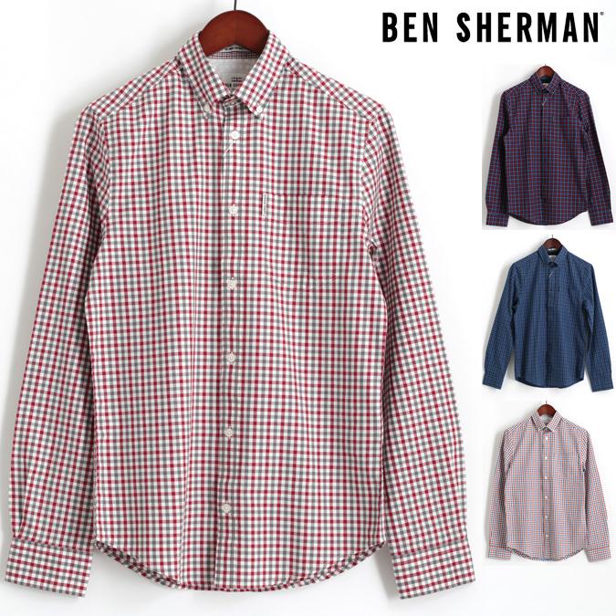 ベンシャーマン Ben Sherman 長袖シャツ ハウスギンガムチェック 4色 コバルト ダークレッド ダスキーブルー オフホワイト レギュラーフィット メンズ プレゼント ギフト