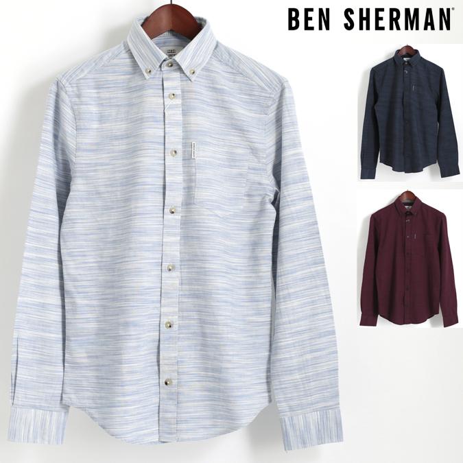 ベンシャーマン Ben Sherman 長袖シャツ オックスフォード スペースダイ 3色 ホワイト ブラック ワイン レギュラーフィット 絣染め ボタンダウン メンズ プレゼント ギフト