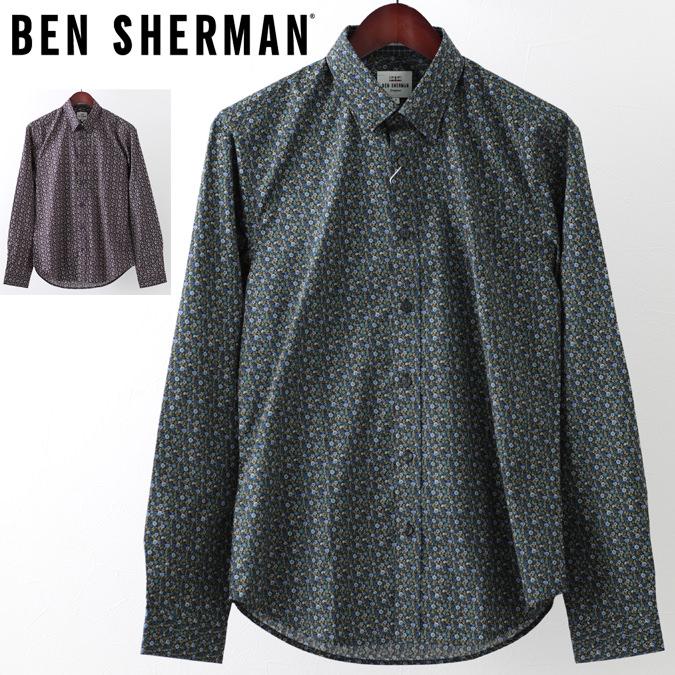 ベンシャーマン メンズ 長袖シャツ Ben Sherman 花柄シャツ フローラル 2色 フォレスト キャメル スリムフィット 花柄 プレゼント ギフト