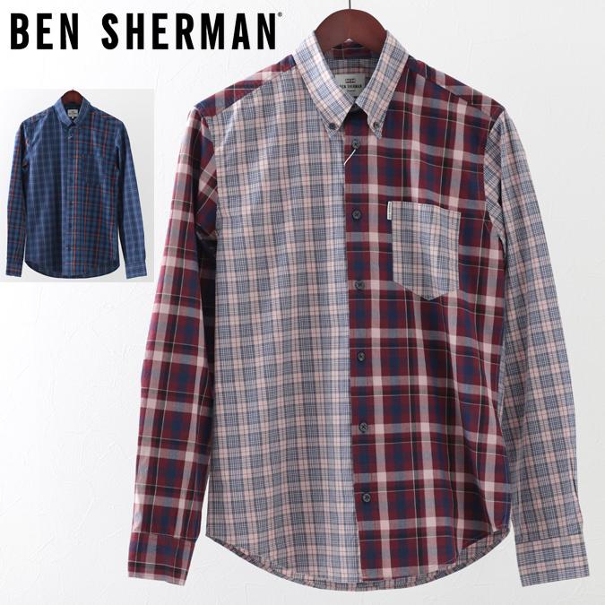 ベンシャーマン メンズ 長袖シャツ チェックシャツ ミックスチェック Ben Sherman 19SS 新作 2色 ダークネイビー ライトピンク レギュラーフィット プレゼント ギフト
