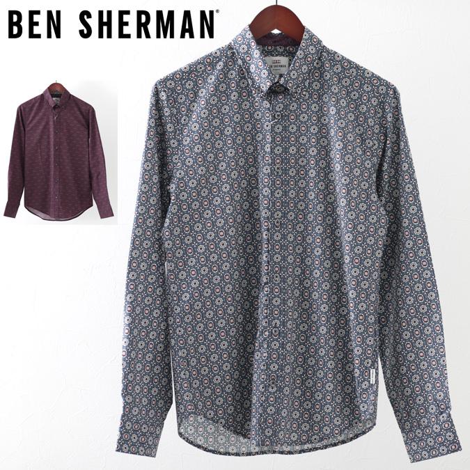 ベンシャーマン メンズ 長袖シャツ ジオメトリック フーラード Ben Sherman 19SS 新作 2色 ワイン ネイビー レギュラーフィット プレゼント ギフト