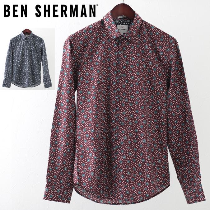 ベンシャーマン メンズ 長袖シャツ 花柄シャツ アイビーフローラル Ben Sherman 19SS 新作 2色 ネイビー ワイン スリムフィット プレゼント ギフト