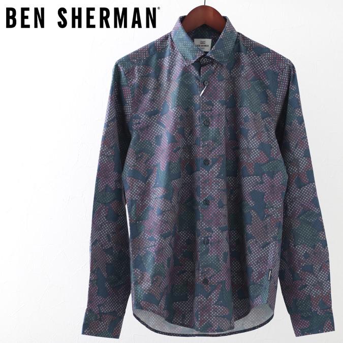 ベンシャーマン メンズ 長袖シャツ トロピカルジオ 花柄シャツ Ben Sherman 19SS 新作 花柄 ダークブルー レギュラーフィット プレゼント ギフト