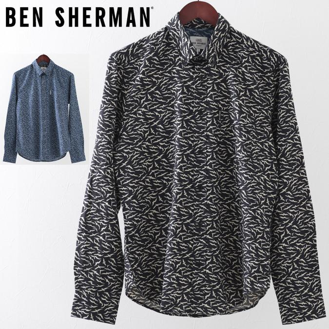 ベンシャーマン メンズ 長袖シャツ シーガル かもめ Ben Sherman 19SS 新作 2色 ダークブルー ブラック レギュラーフィット プレゼント ギフト