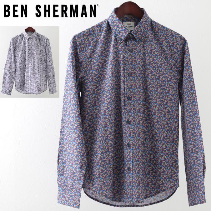 ベンシャーマン メンズ 長袖シャツ 花柄シャツ フローラル マイクロ トロピック Ben Sherman 19SS 新作 2色 ダークブルー スノーホワイト レギュラーフィット プレゼント ギフト