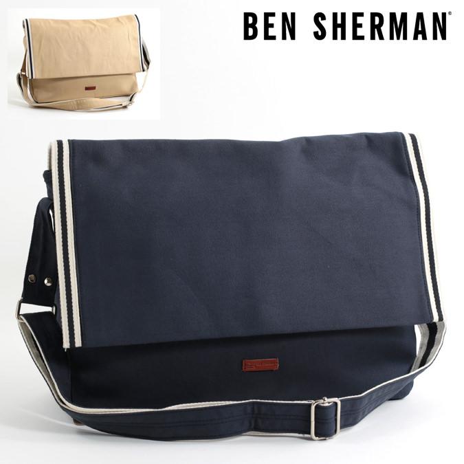 ベンシャーマン Ben Sherman メッセンジャーバッグ キャンバス 47x29x13cm バッグ 2色 ネイビー オートミール メンズ レディース プレゼント ギフト